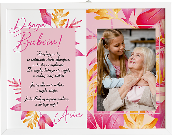 Prezent na dzień babci i dziadka kolorowe listki obraz z życzeniami