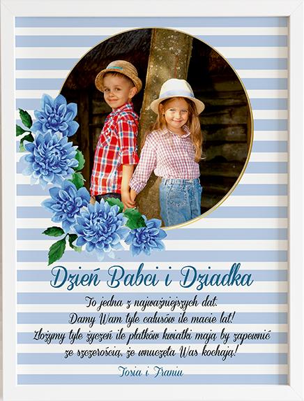 Prezent na dzień babci i dziadka niebieska dalia obraz z życzeniami