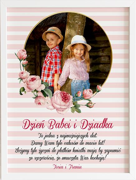 Prezent na dzień babci i dziadka serduszka róże obraz z życzeniami