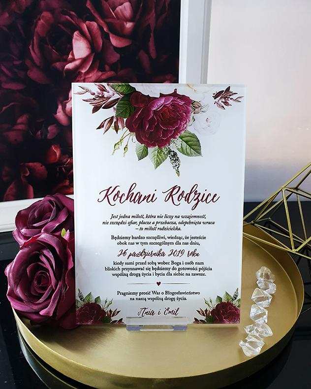 Romantic burgundy prośba o błogosławieństwo dla rodziców szklana tafla