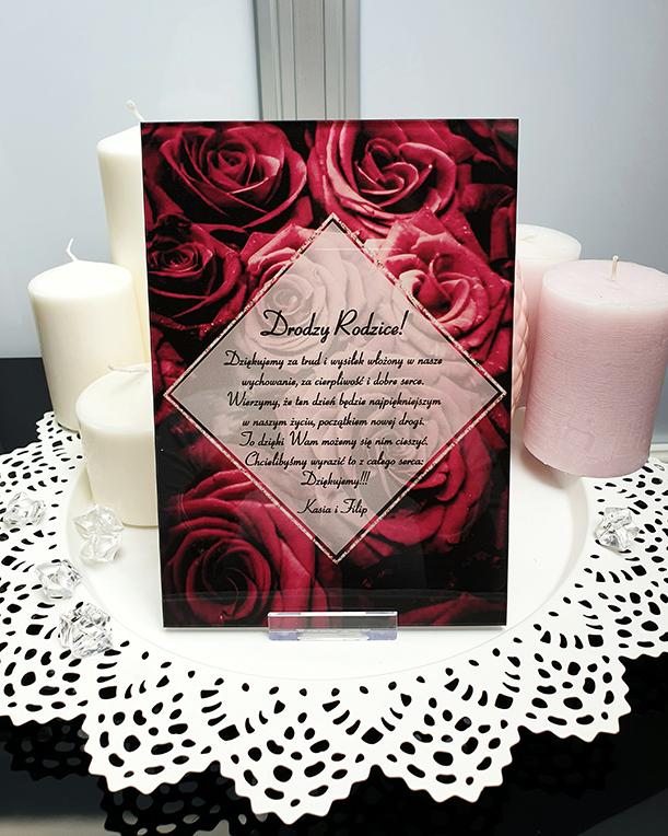 Rose dark podziękowanie na ślub szklana tafla