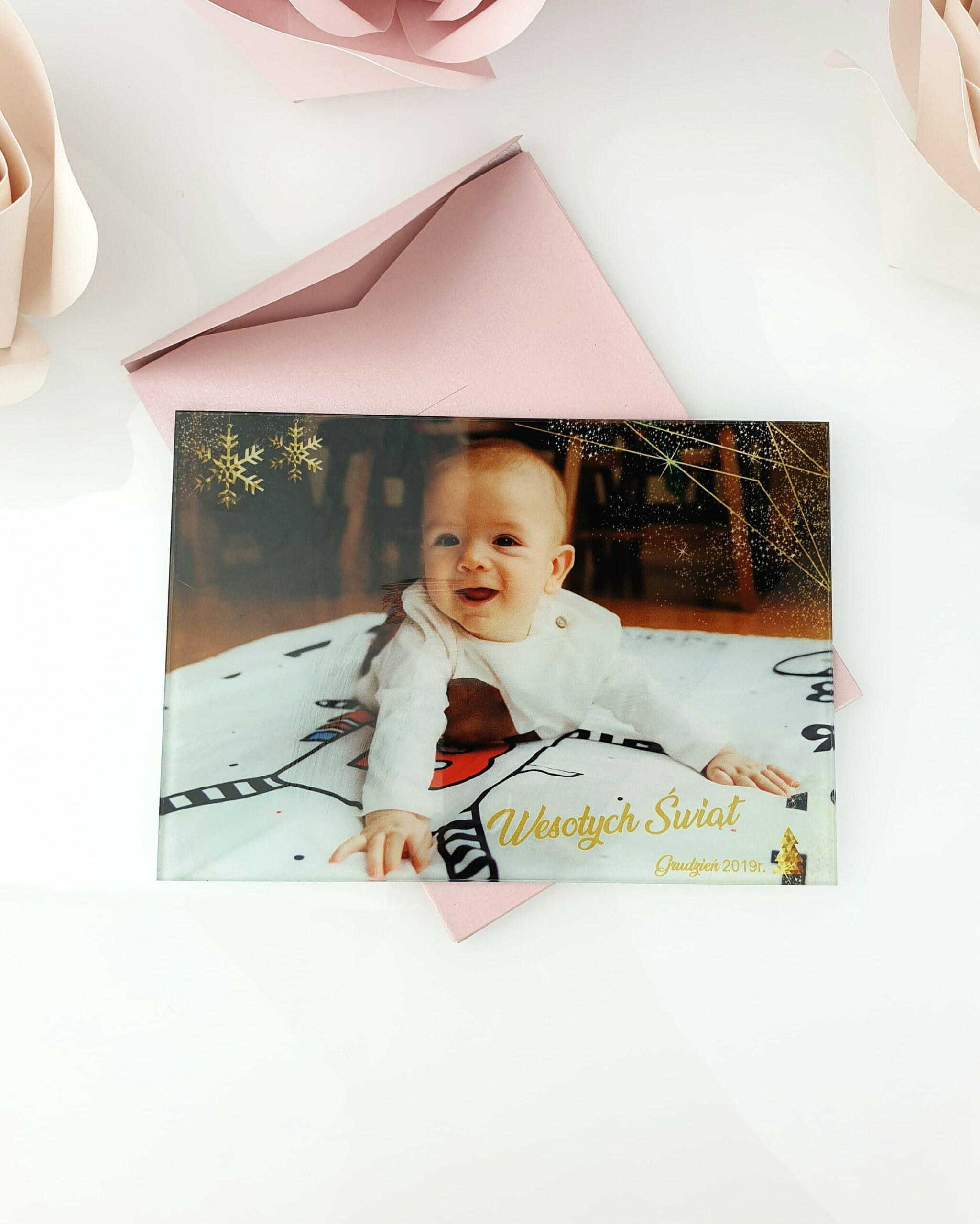 Świąteczna szklana karta ze zdjęciem 1 szklana tafla