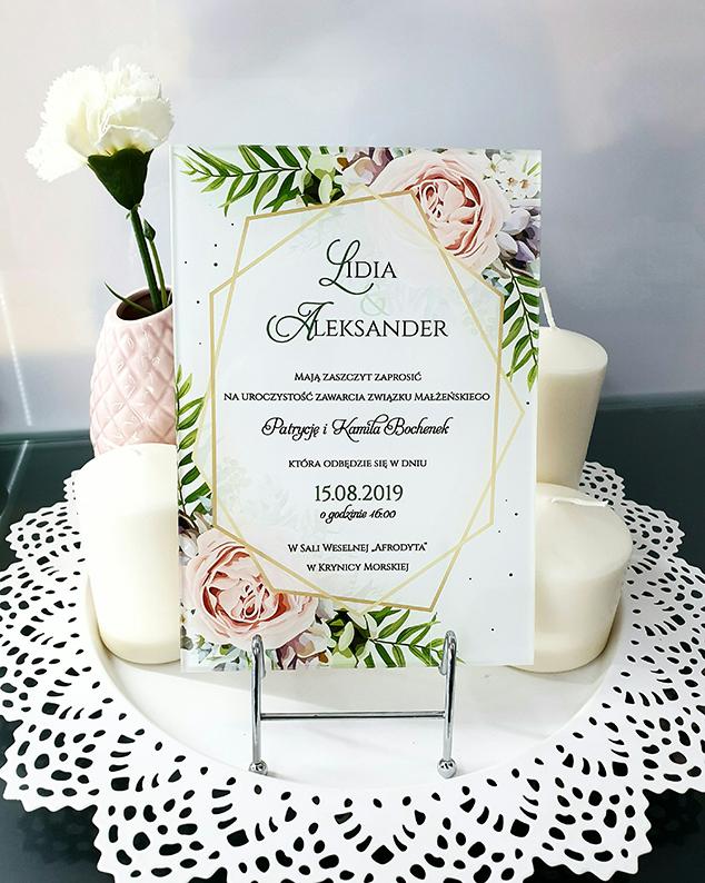 Tea rose zaproszenie na ślub szklana tafla