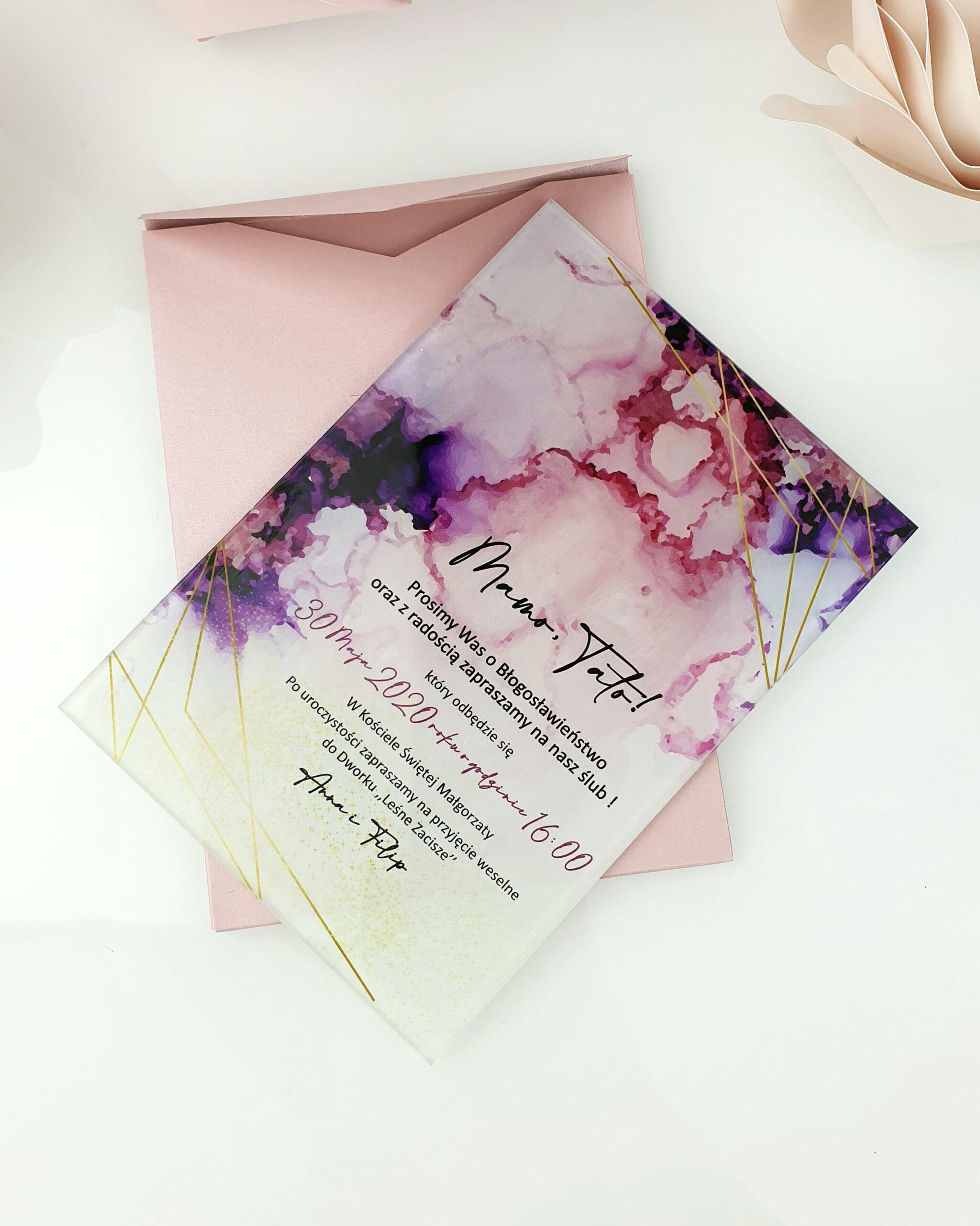 Watercolor violet zaproszenie na ślub szklana tafla