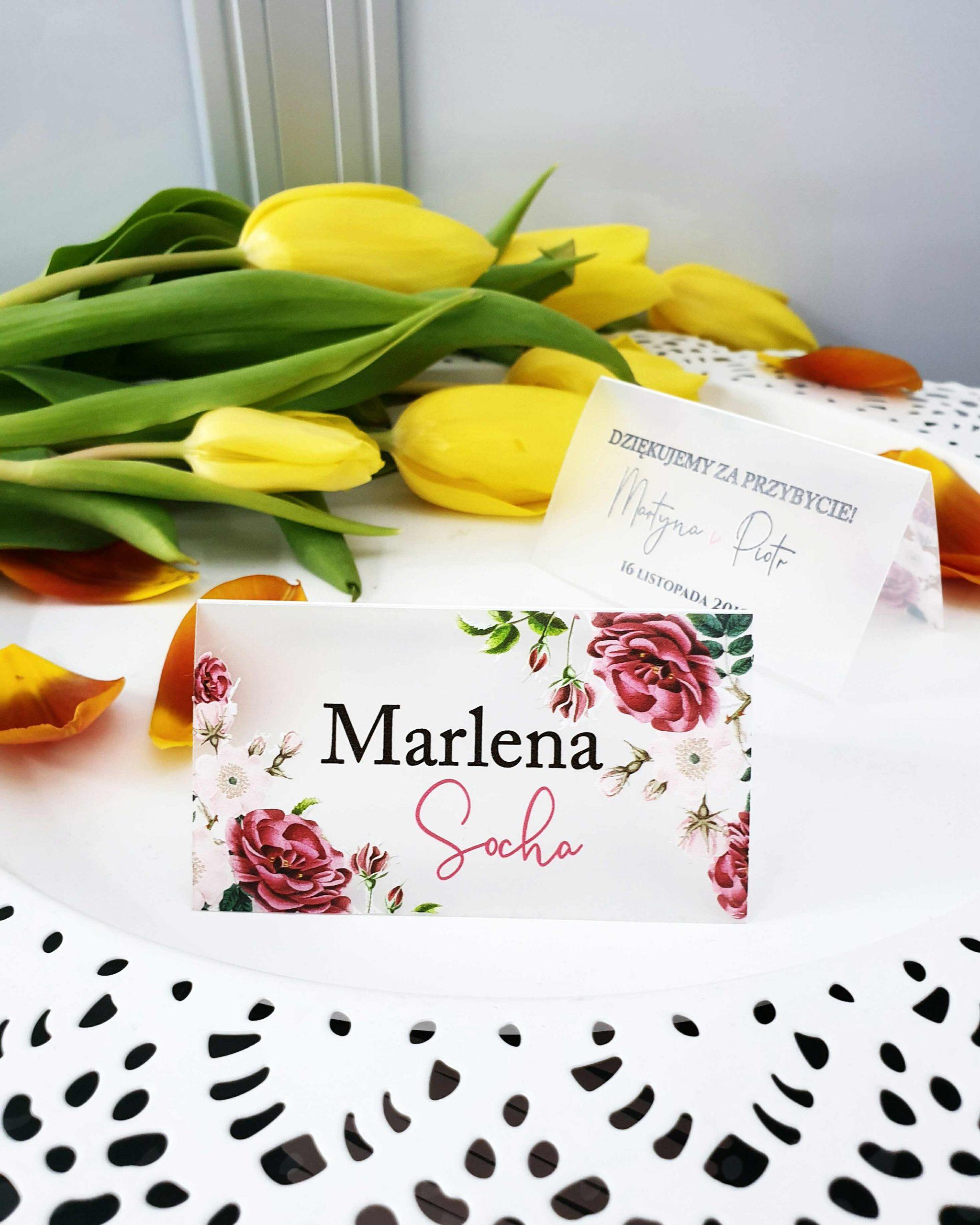 Winietki satynowe powder bloom dodatki na stół