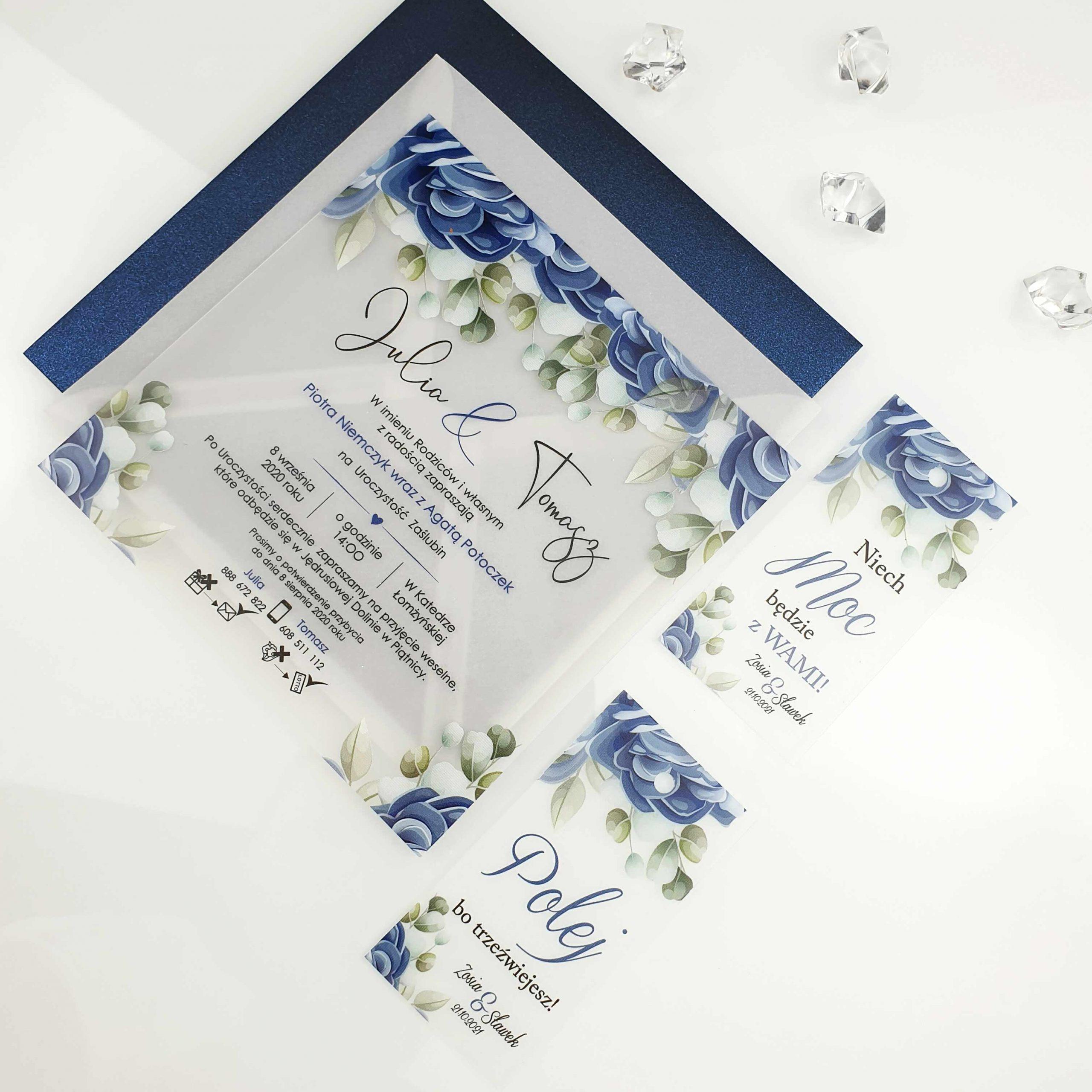 Zaproszenie satynowe blue wonder zaproszenia