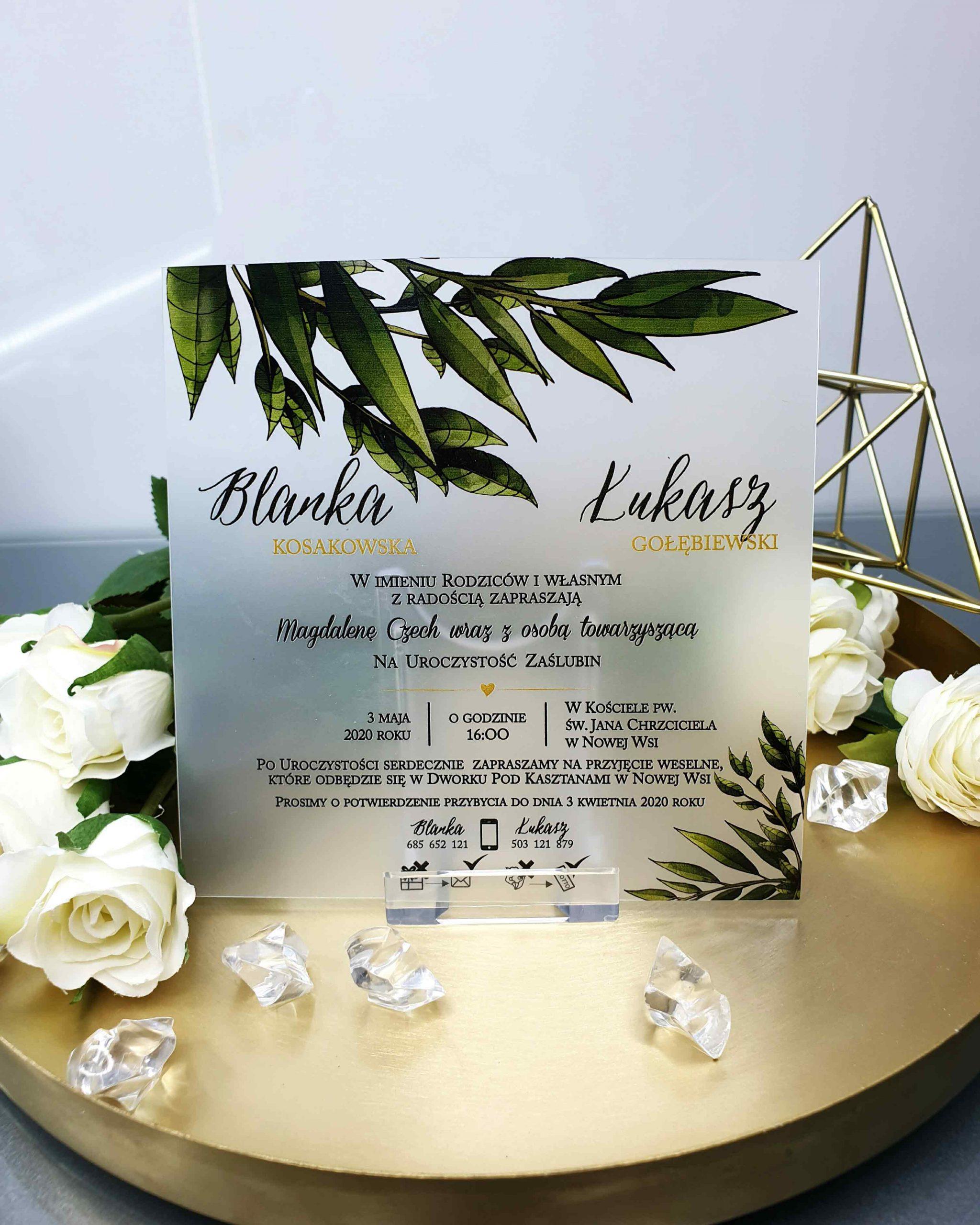 Zaproszenie satynowe botanical zaproszenia