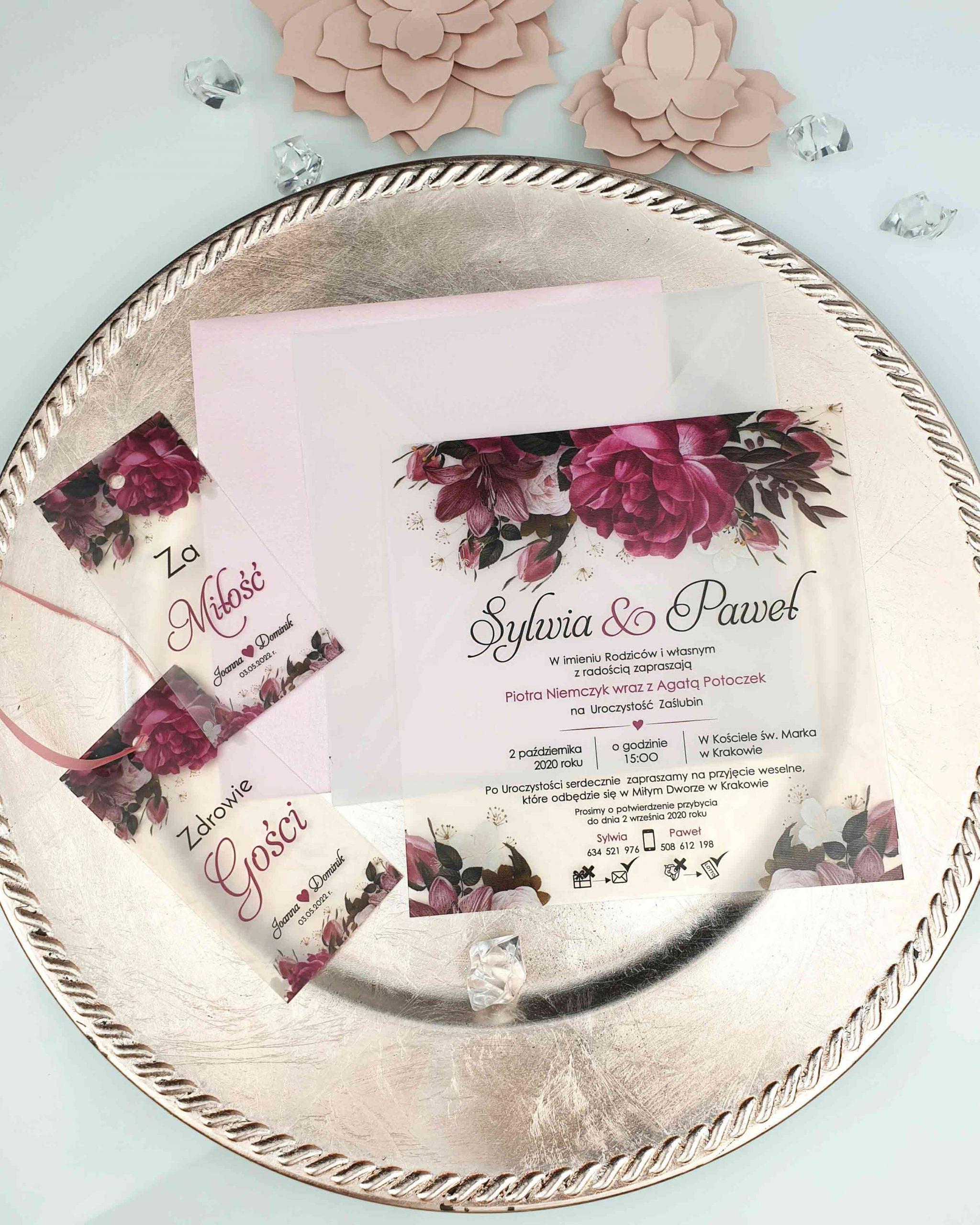 Zaproszenie satynowe burgundy bouquet zaproszenia