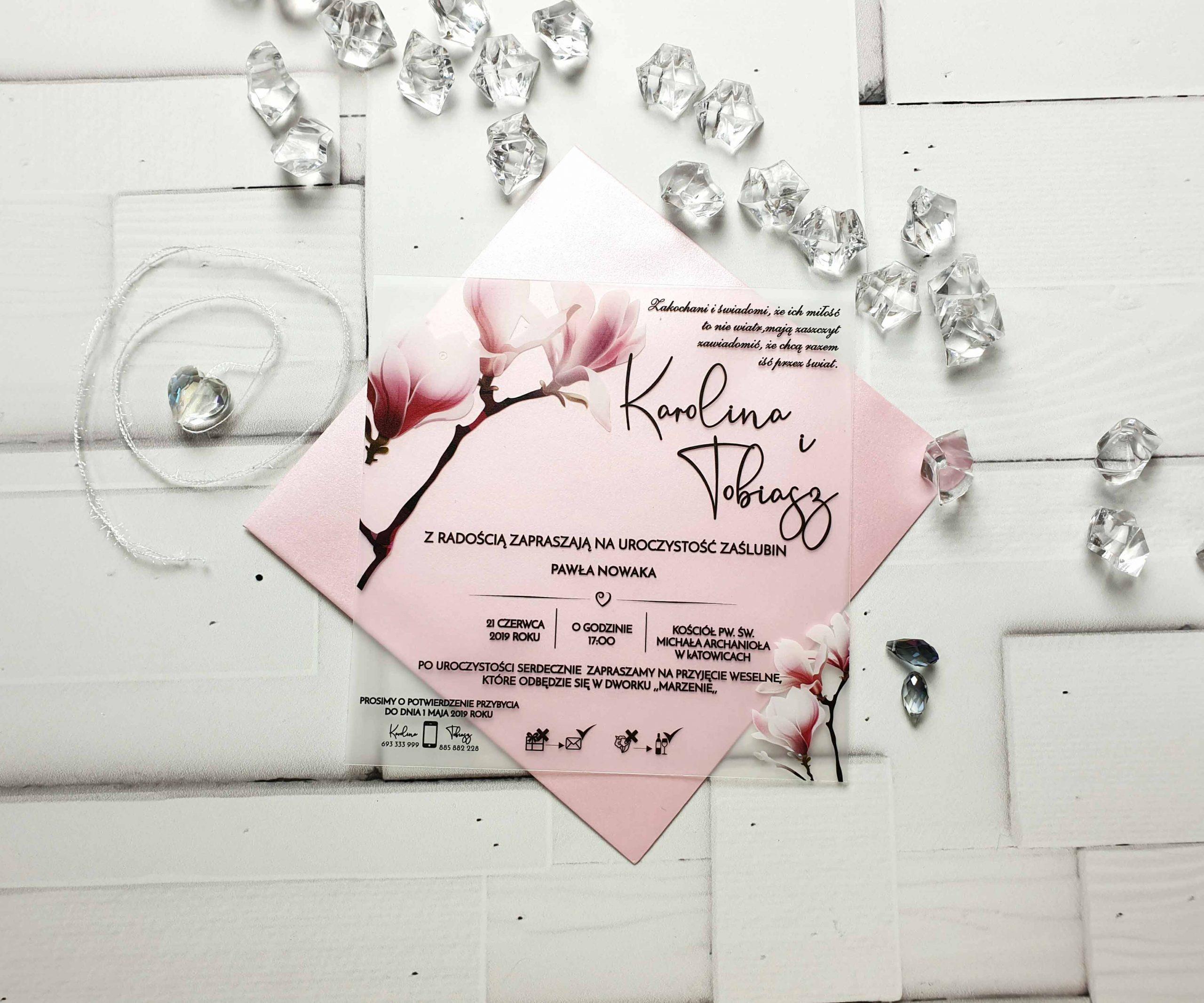 Zaproszenie satynowe magnolia zaproszenia