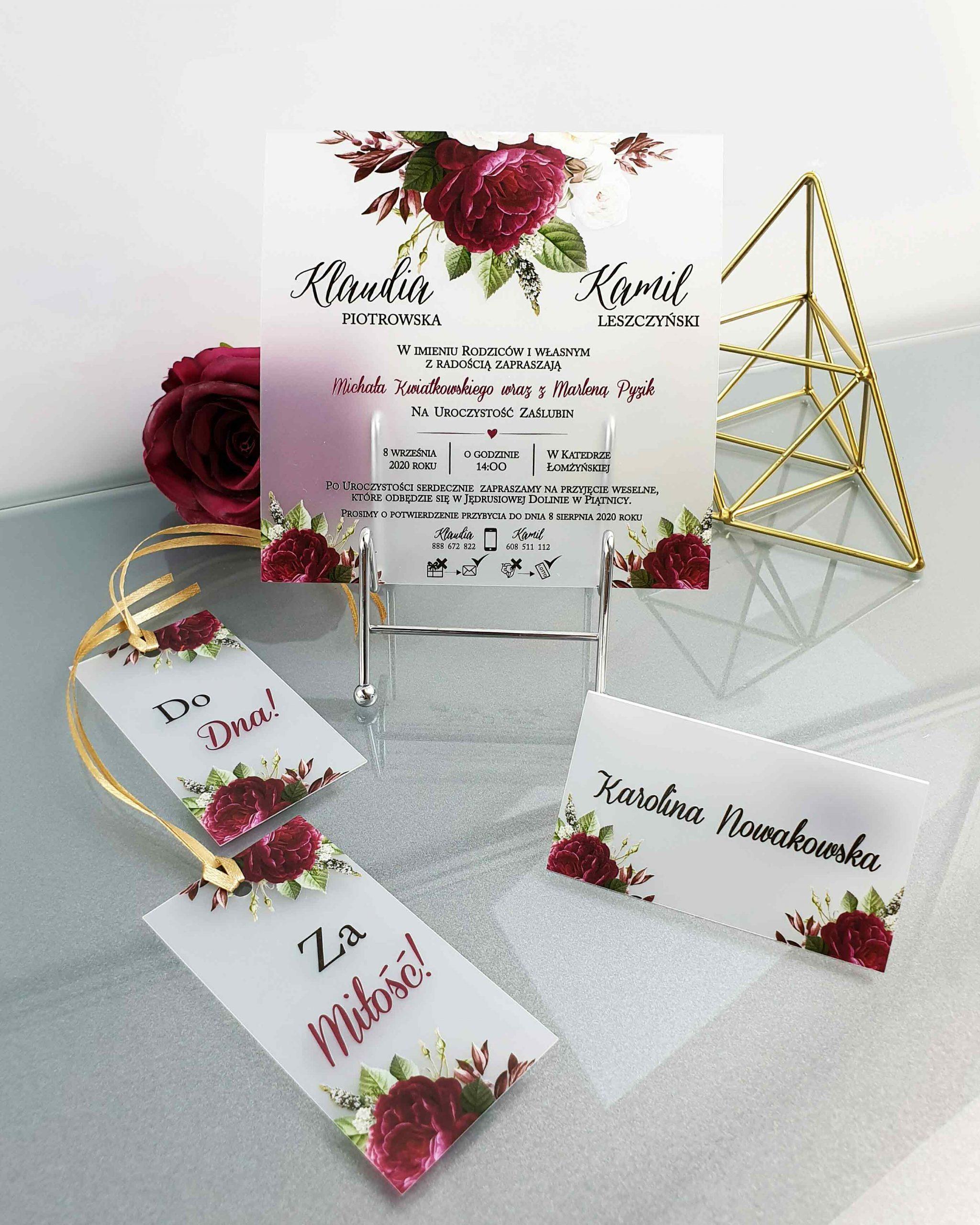 Zaproszenie satynowe romantic burgundy zaproszenia