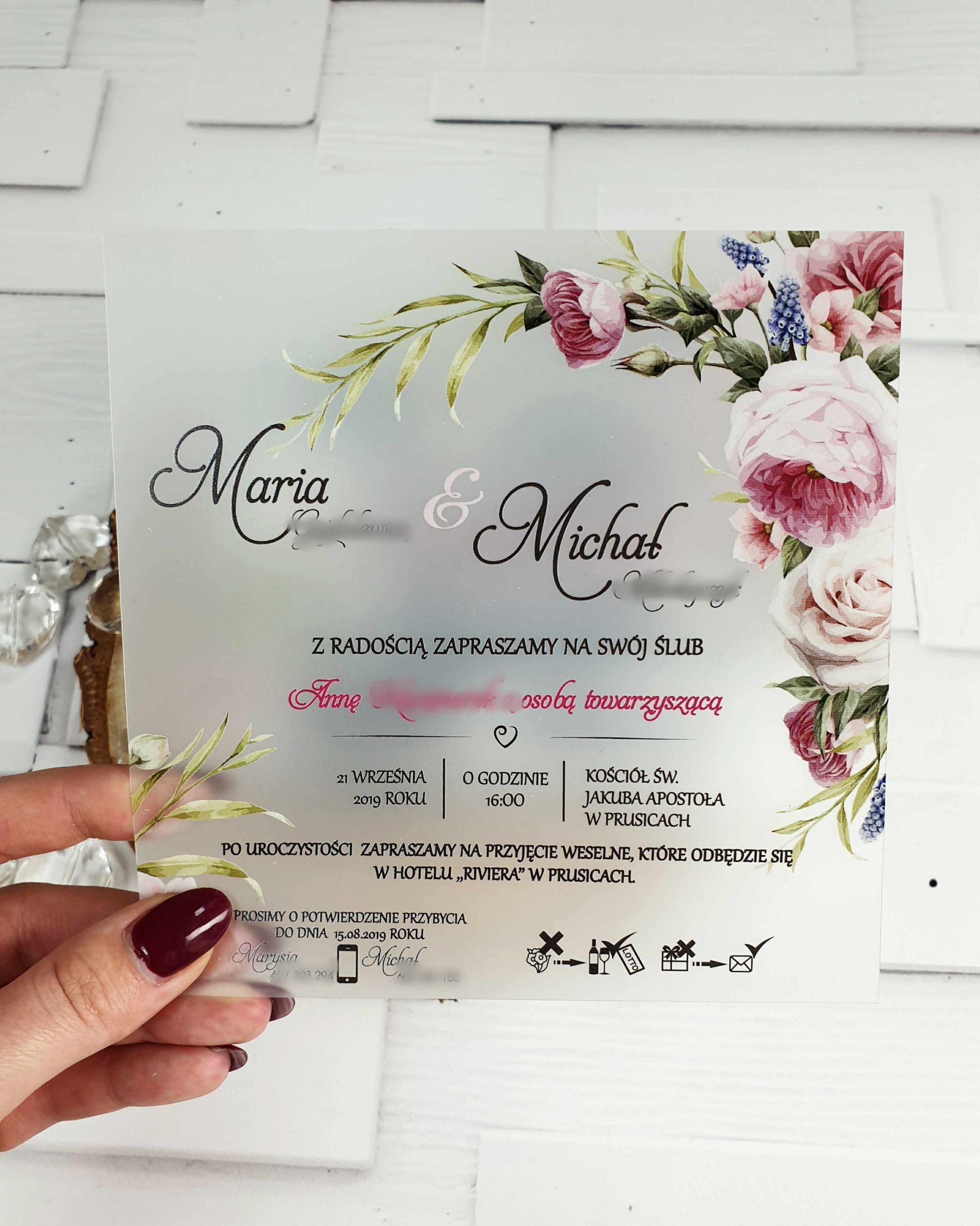 Zaproszenie satynowe sweet rose zaproszenia