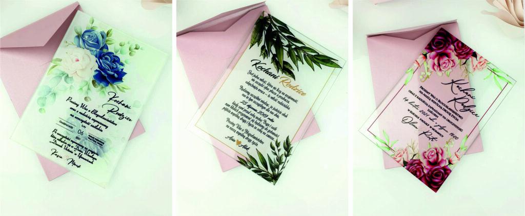zaproszenie na ślub - szklana tafla